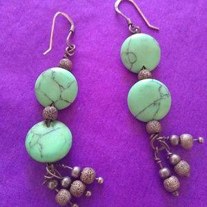 Raw turquoise Dangle 925 Silver hook Boho Earrings